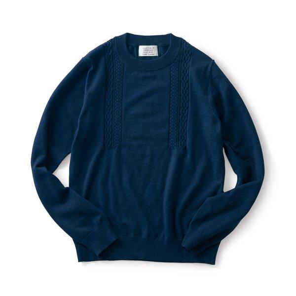 サニークラウズ 縄編みの途中セーター〈メンズ〉ネイビー