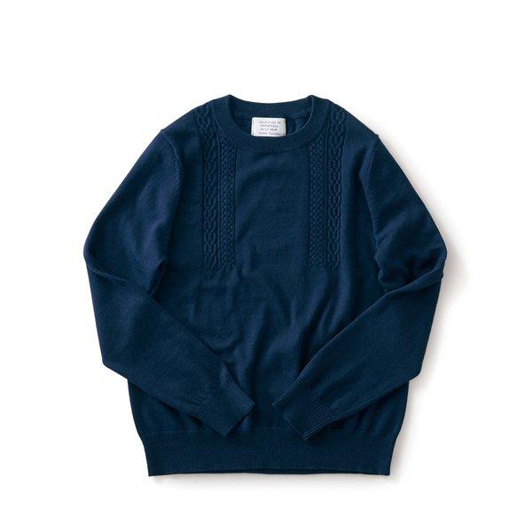サニークラウズ 縄編みの途中セーター〈レディース〉ネイビー