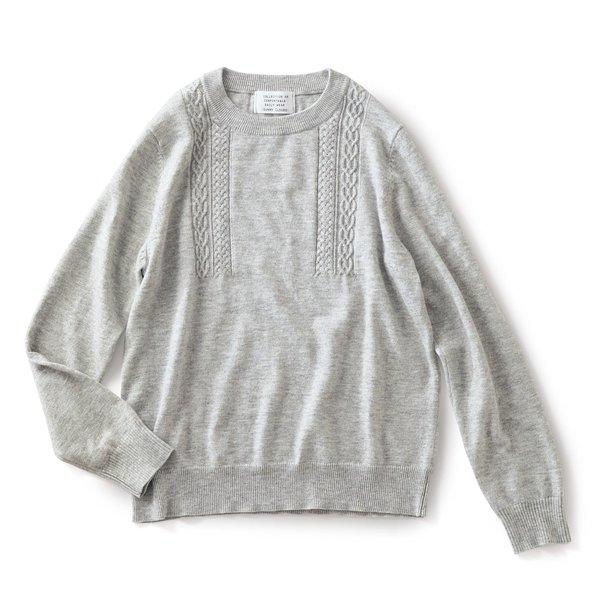サニークラウズ 縄編みの途中セーター〈レディース〉グレー杢