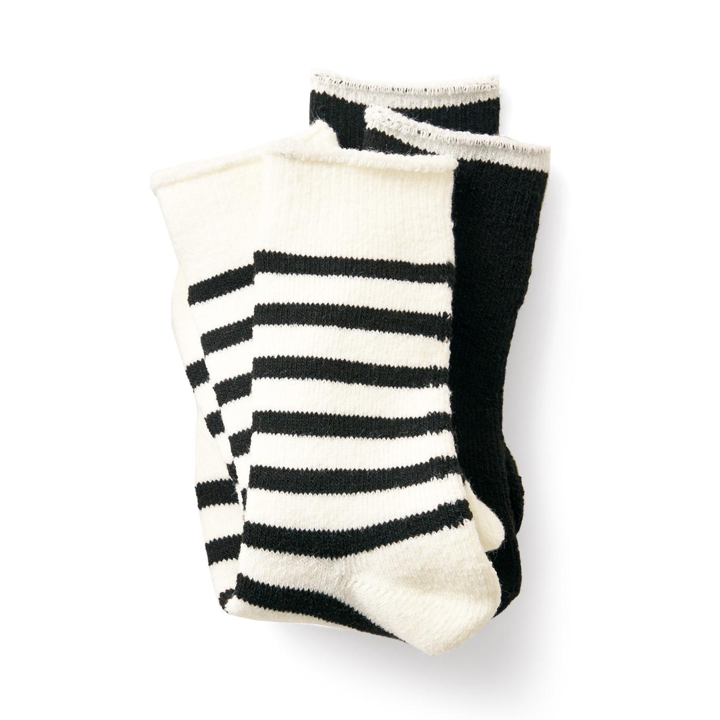 フェリシモ サニークラウズ ボーダーと無地のパイル靴下セット〈黒〉
