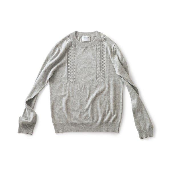 サニークラウズ 縄編みの途中セーター〈メンズ〉グレー杢