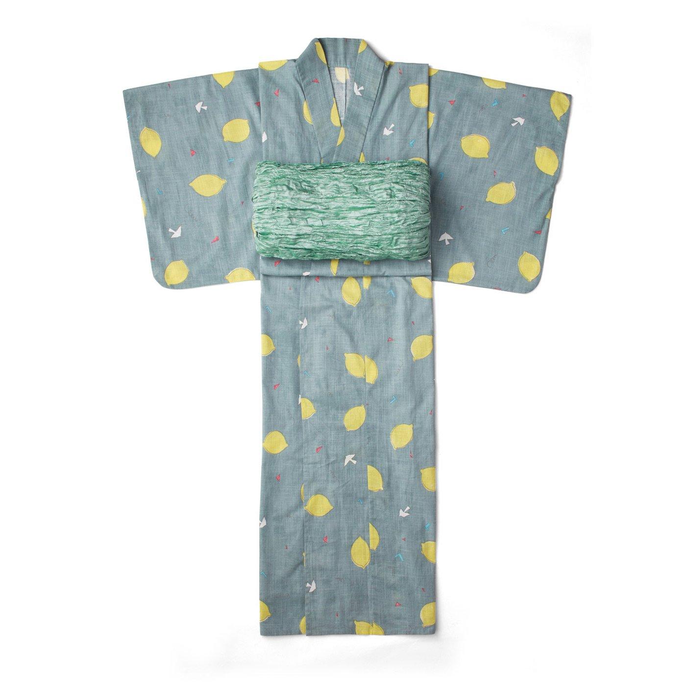 【3~10日でお届け】京都Subikiawa食器店さんとつくった レトロなレモン柄の浴衣(ゆかた)〈レディース〉
