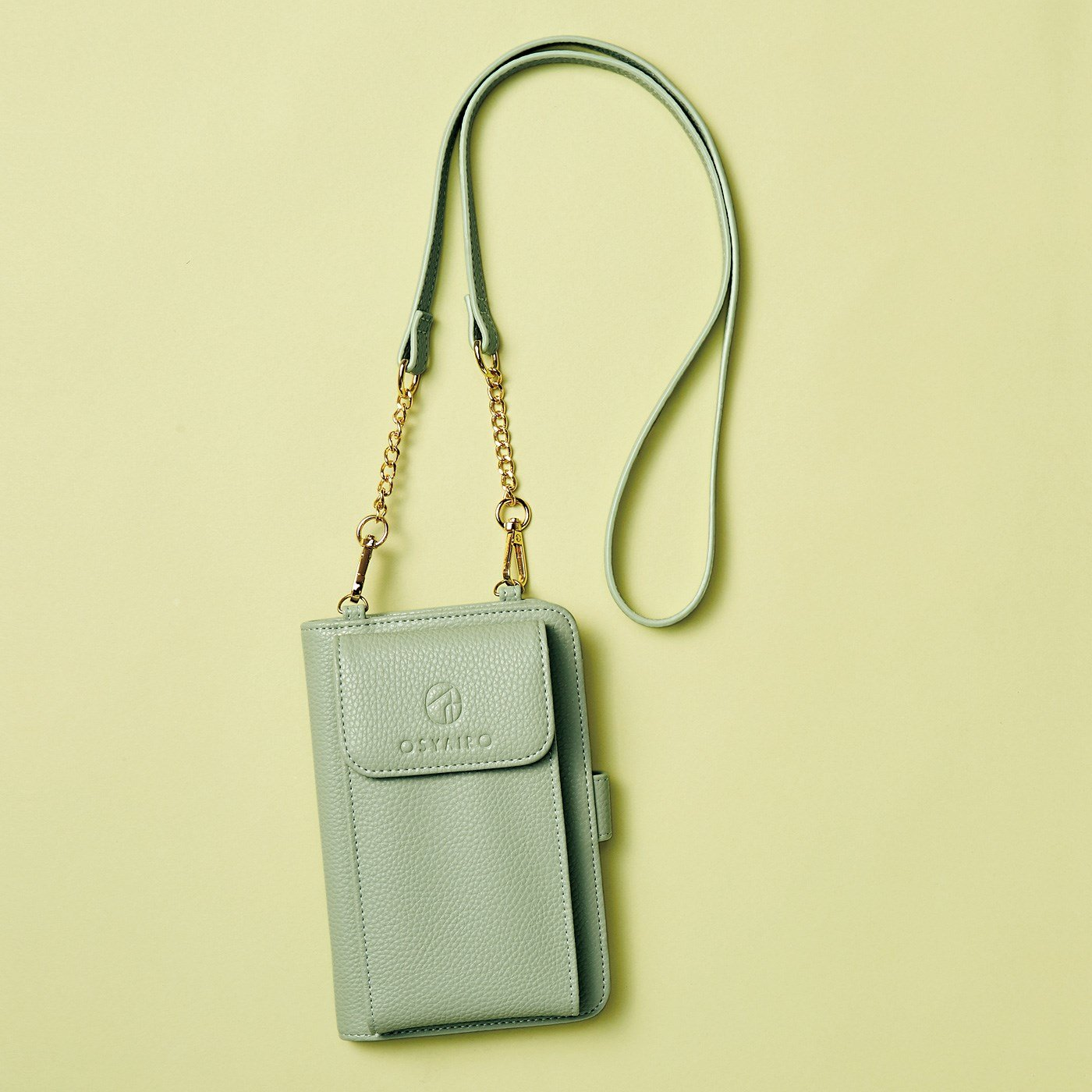 OSYAIRO フォトポケットが付いた スマホ&おさいふポーチ〈グリーン〉