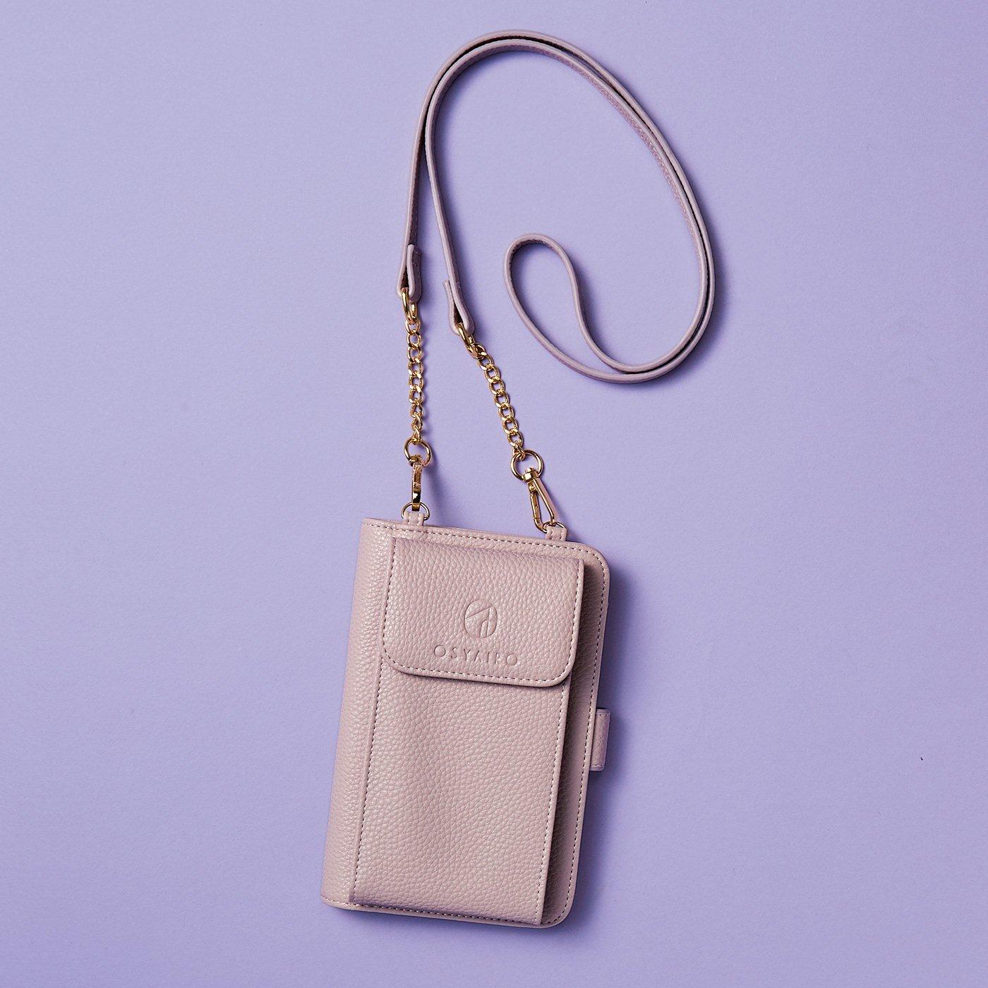 OSYAIRO フォトポケットが付いた スマホ&おさいふポーチ〈パープル〉
