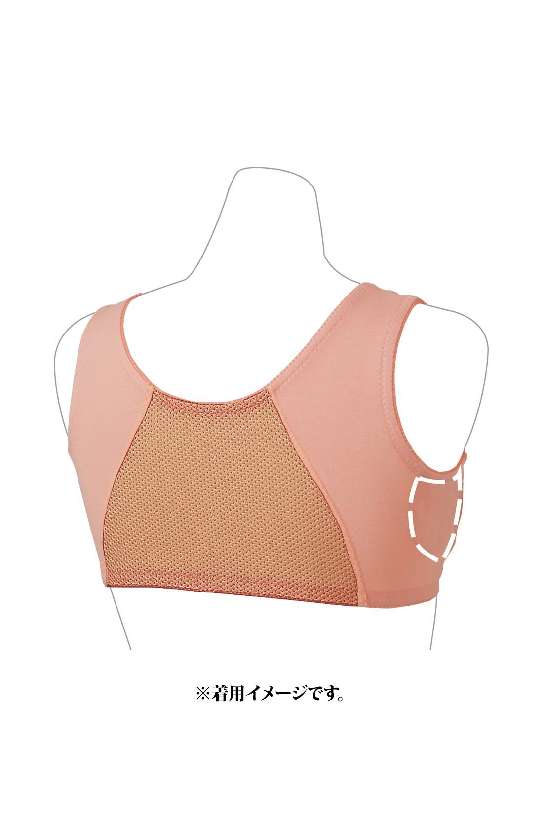 これは参考画像です。Back 背中と肩の前部分はメッシュ素材で、汗の季節も快適。わき部分は二重仕立てで、わき汗を吸収。