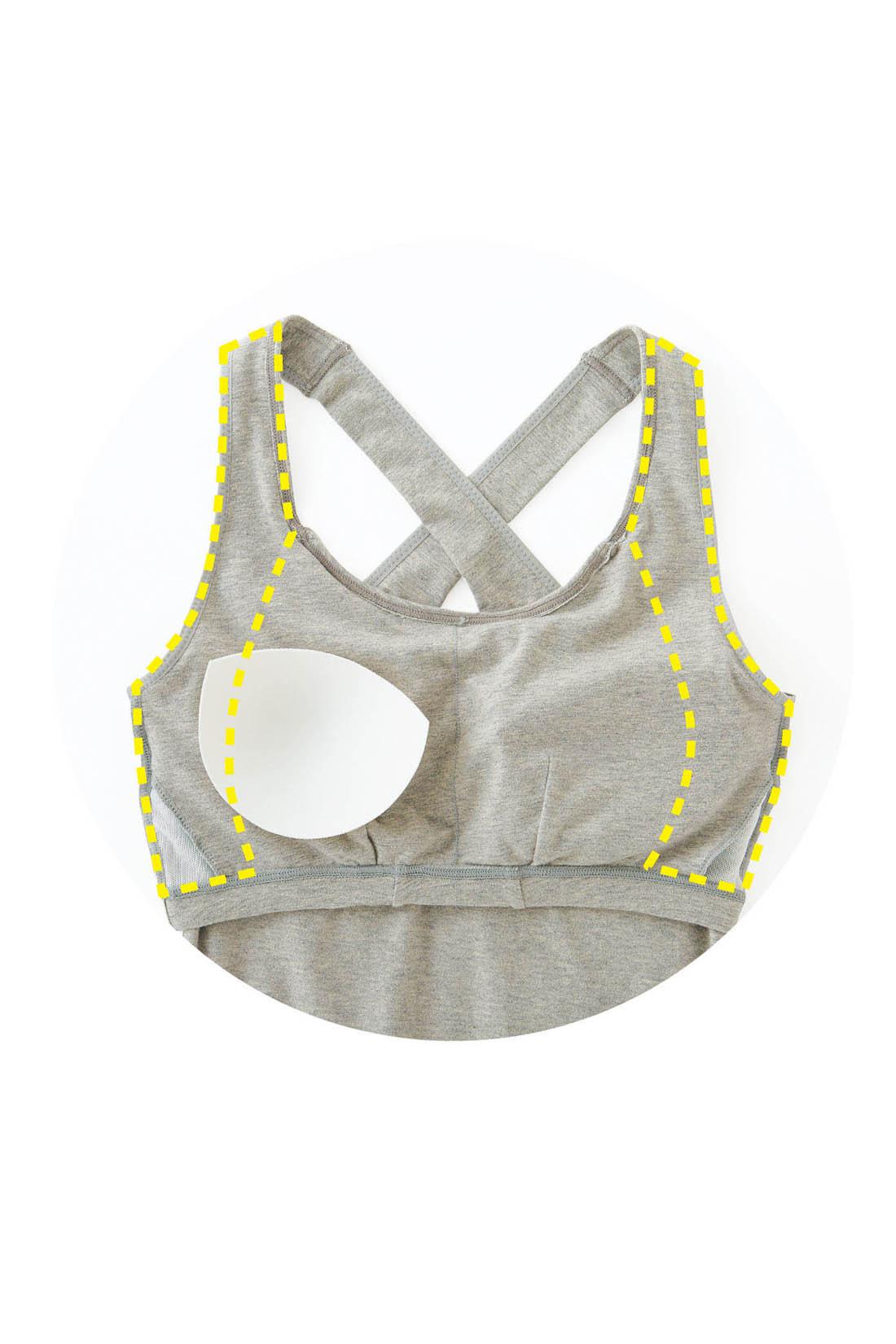 Front(肌側)ブラとストラップの内側のパワーネットで胸もしっかり安定して動きはしなやか。