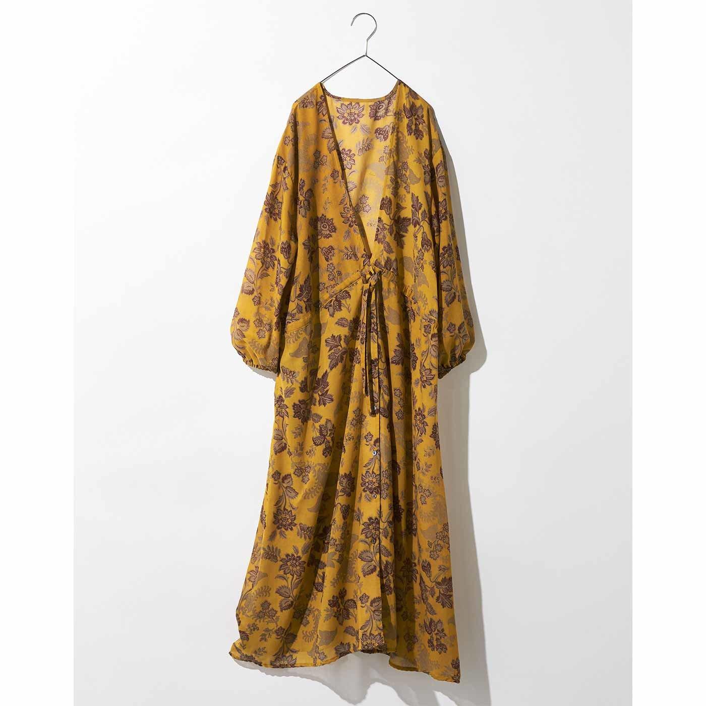 MEDE19F ヴィンテージパターンプリント 羽織りワンピース〈マスタード〉