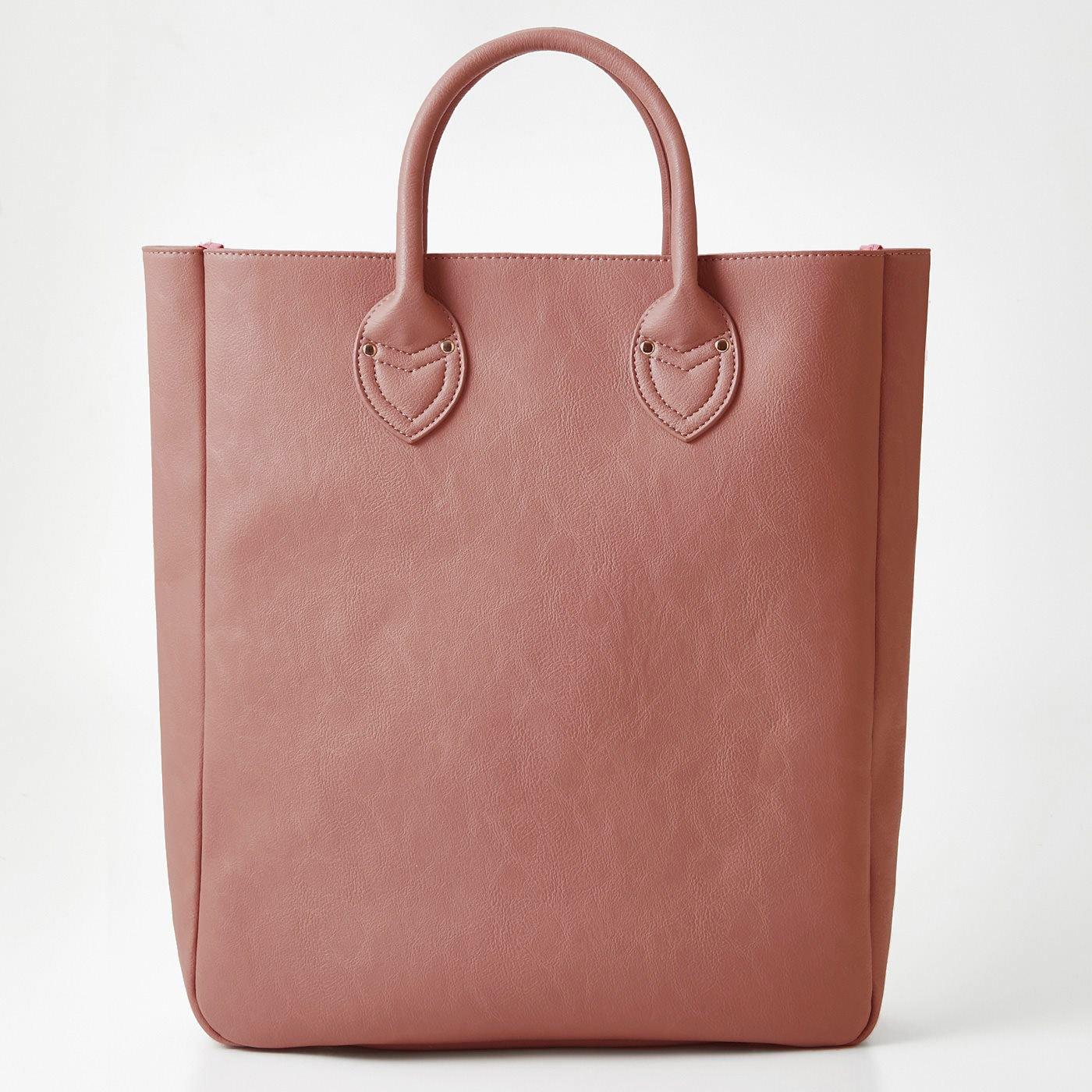 OSYAIRO カラーを楽しむ 大きな内ポケット付きビッグトートバッグ〈ピンク〉