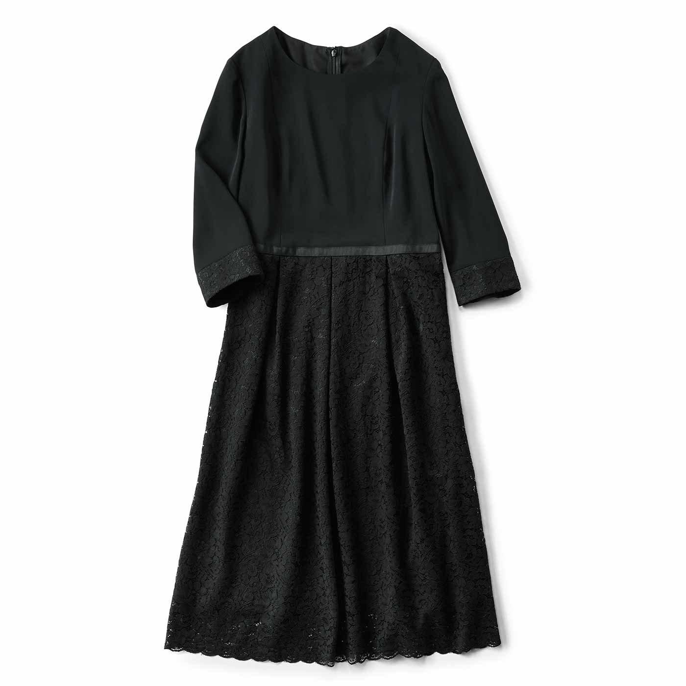 IEDIT[イディット] 繊細レースを贅沢にあしらった上品ワンピース〈ブラック〉