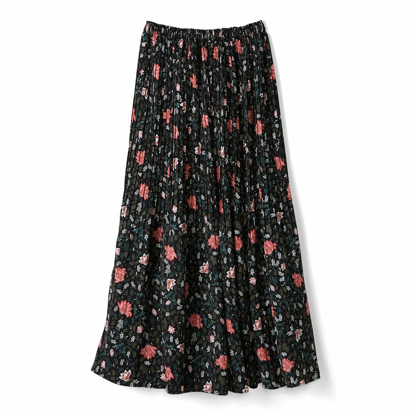 【3~10日でお届け】リブ イン コンフォート おとめ心がさらりと揺れる 華やか細プリーツスカート〈花柄ブラック〉