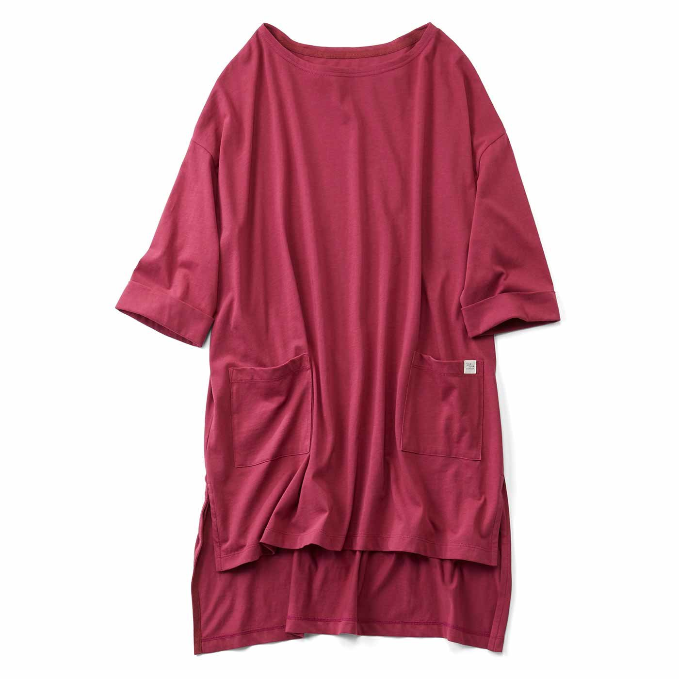 【3~10日でお届け】Live love cottonプロジェクト リブ イン コンフォート ざばっと着るだけ Tシャツ感覚のオーガニックコットンチュニック〈ローズレッド〉