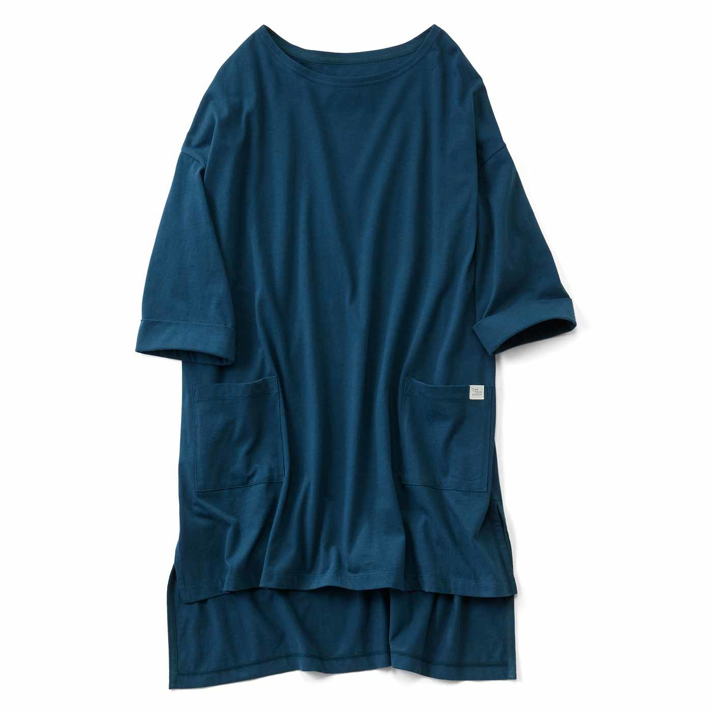 【3~10日でお届け】Live love cottonプロジェクト リブ イン コンフォート ざばっと着るだけ Tシャツ感覚のオーガニックコットンチュニック〈ピーコックグリーン〉
