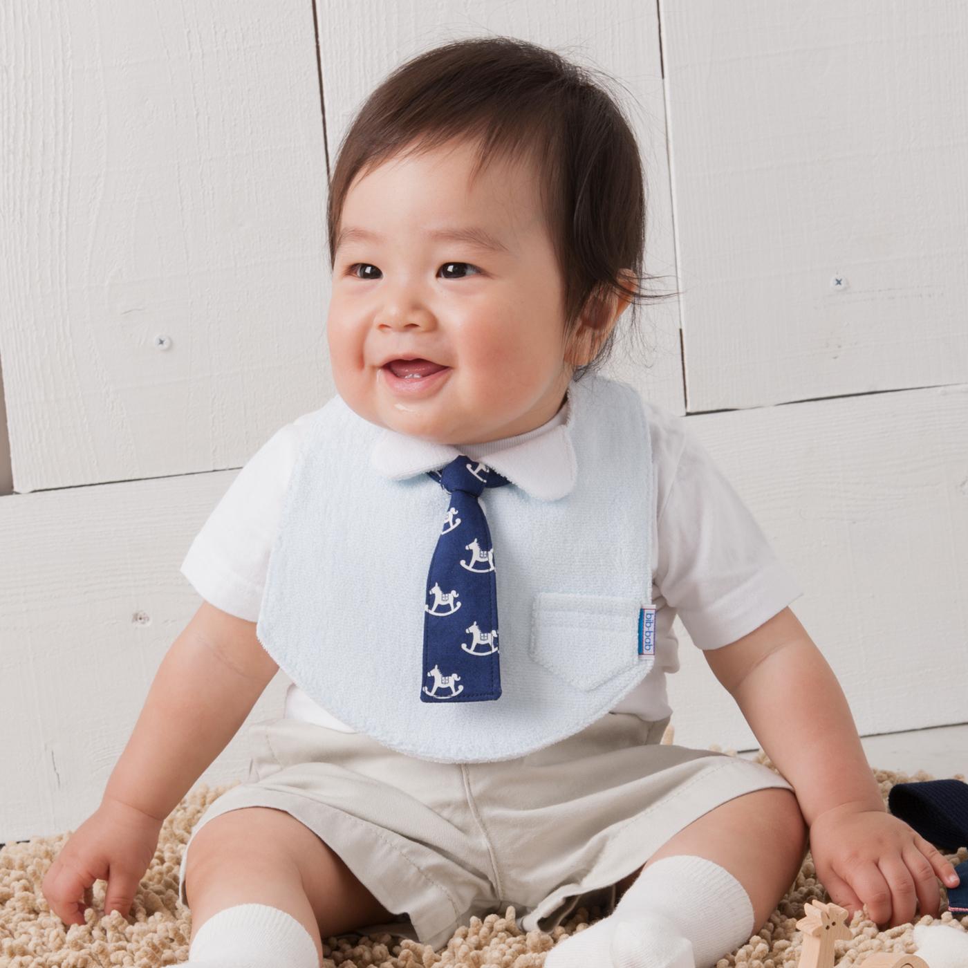 フェリシモ これ一着でお出かけ着に! シャツスタイ(タオルブルー)とネクタイ着せ替えセット