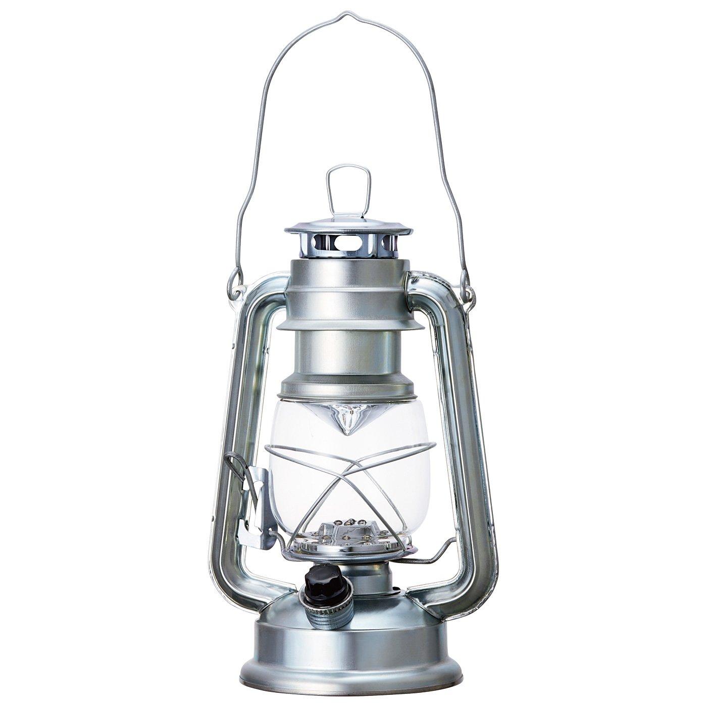 まるで本物の灯(あか)りのよう レトロな風合いのLEDランタン〈ブライトシルバー〉