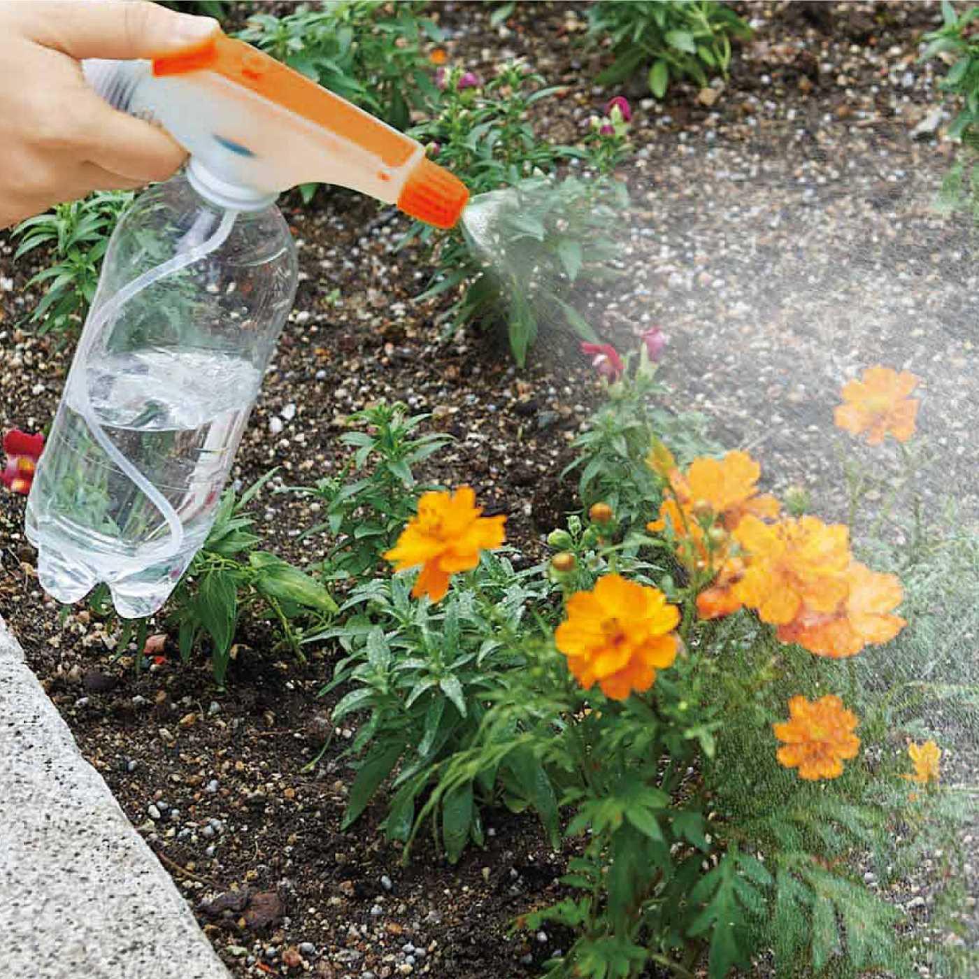 花壇の水やりにも。