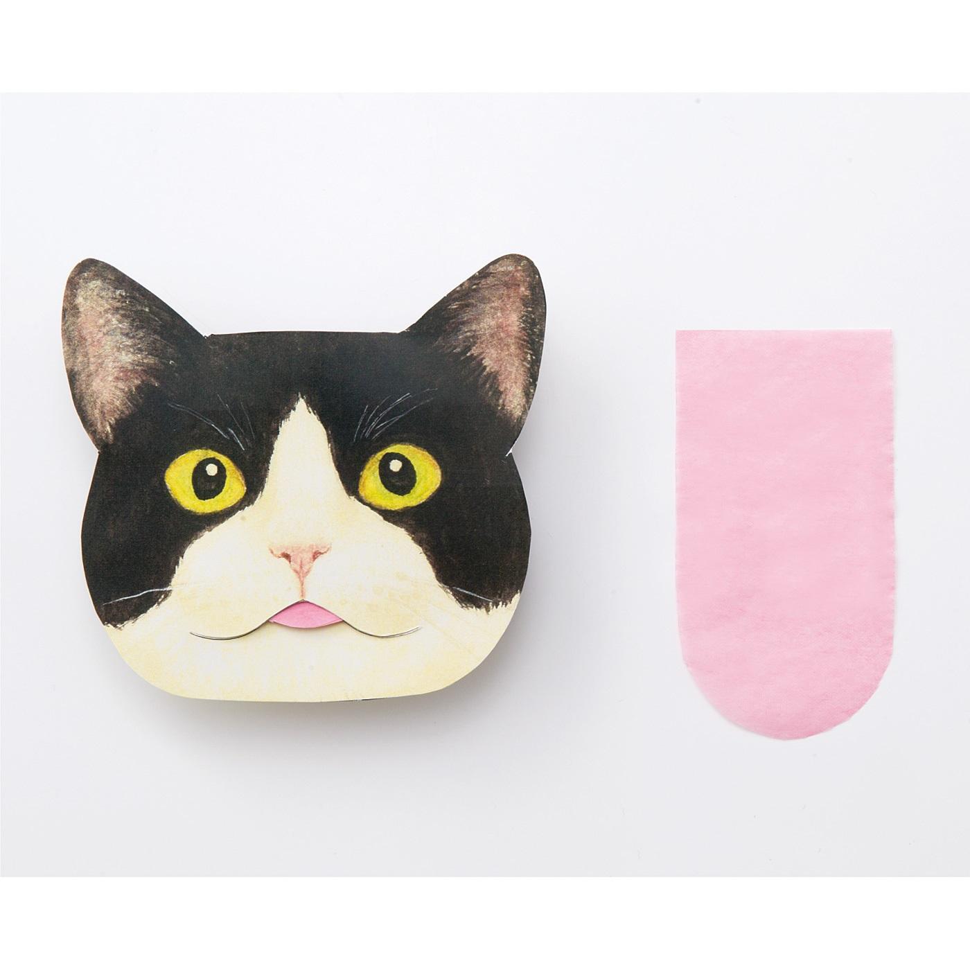 3. あぶらとり紙は猫の舌をイメージした形! 小鼻やおでこの皮脂を取ってね。