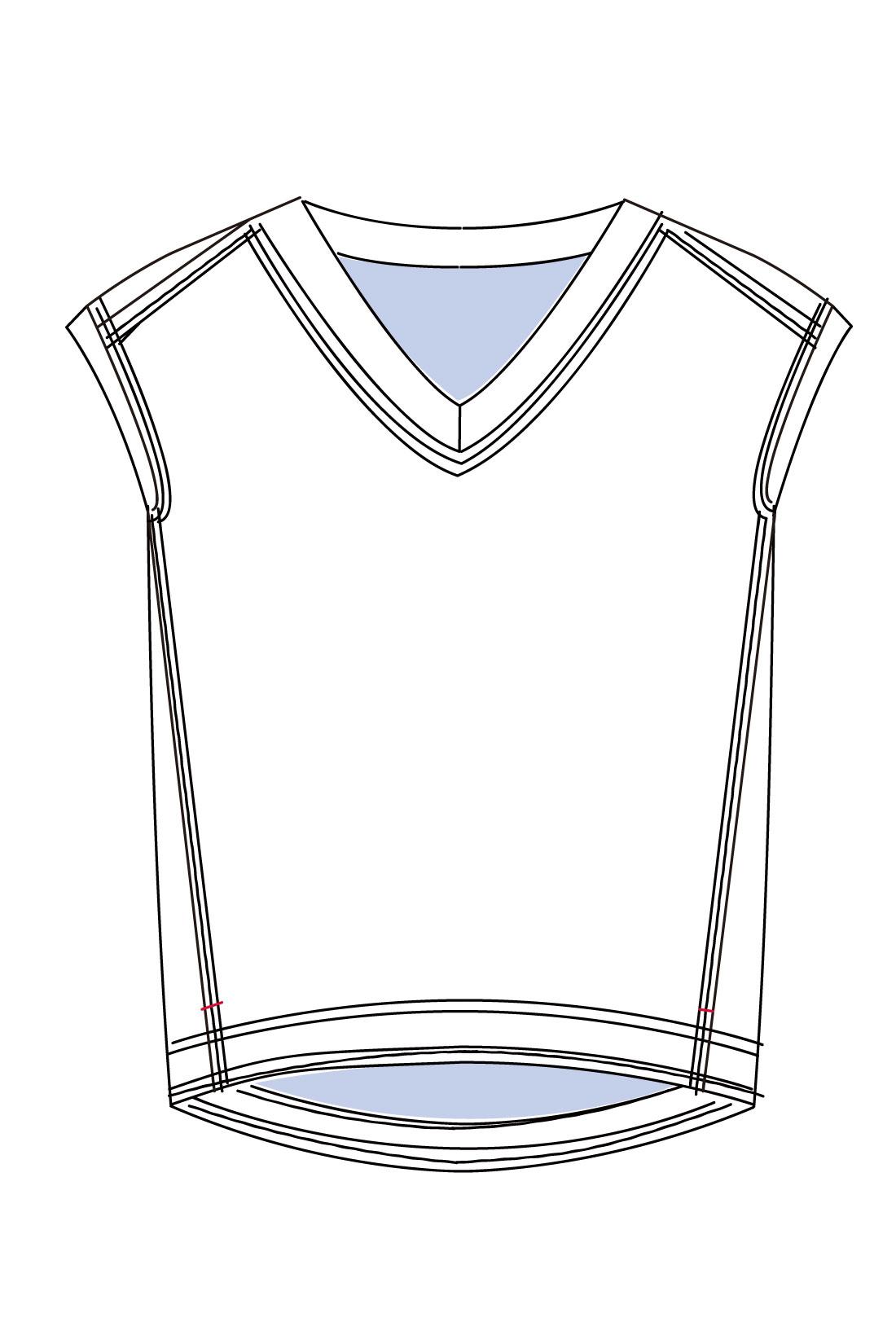 絶妙の袖丈感で二の腕をh沿見せ。すそにはスリット、前身ごろには切り替えを入れるなど、スタイルアップのポイントが満載。