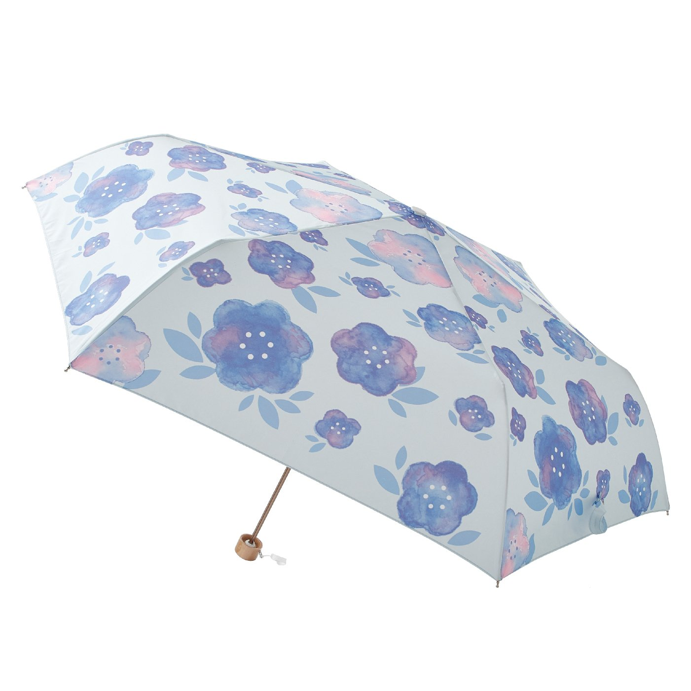 晴雨兼用 UV防止 パッと華やぐ estaa / エスタ 『水彩花柄』 折りたたみ雨傘