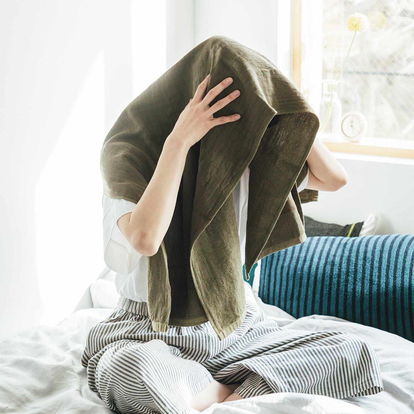 古着屋さんで見つけたようなリネンガーゼと綿パイルのバスタオル〈ヴィンテージカラー〉の会