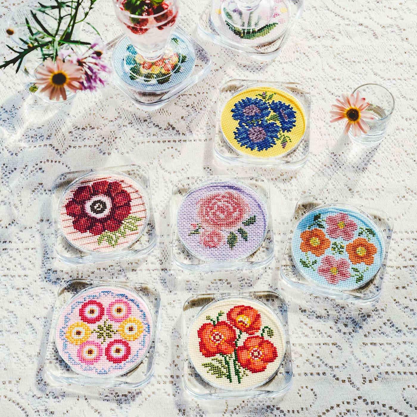 色とりどりの可憐な花園 コースターが作れる お花のクロスステッチ