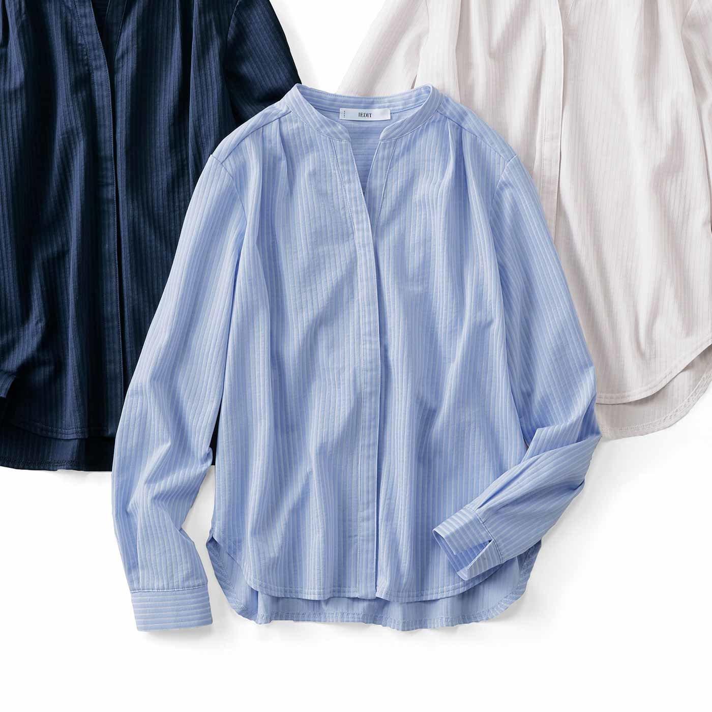 IEDIT[イディット] きちんとシャツ見えする らくちん伸びやかなカットソーシャツブラウスの会(3回エントリー)