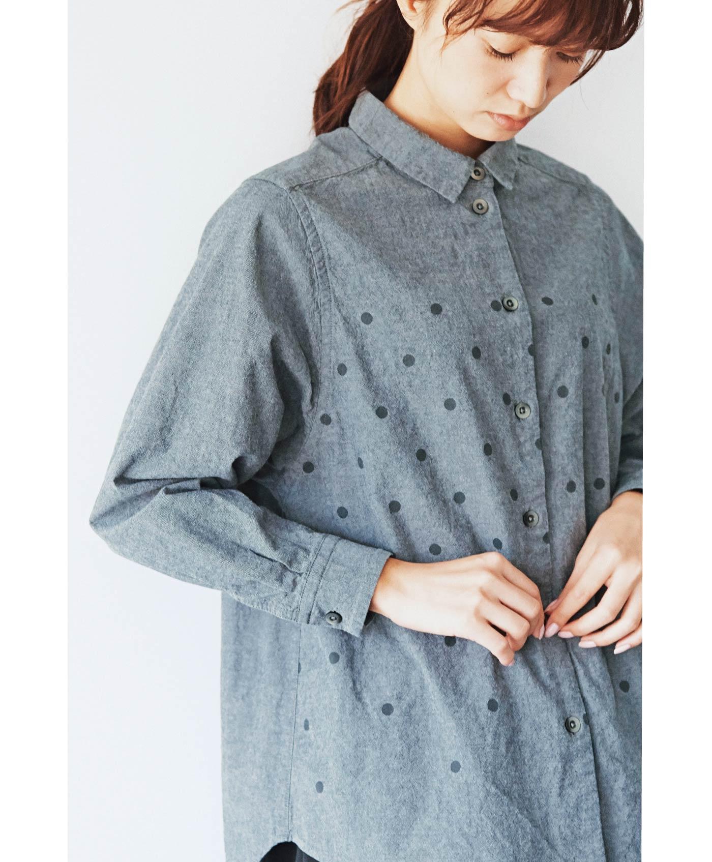 サニークラウズ 水玉模様のマイボーイフレンドシャツ<レディース>