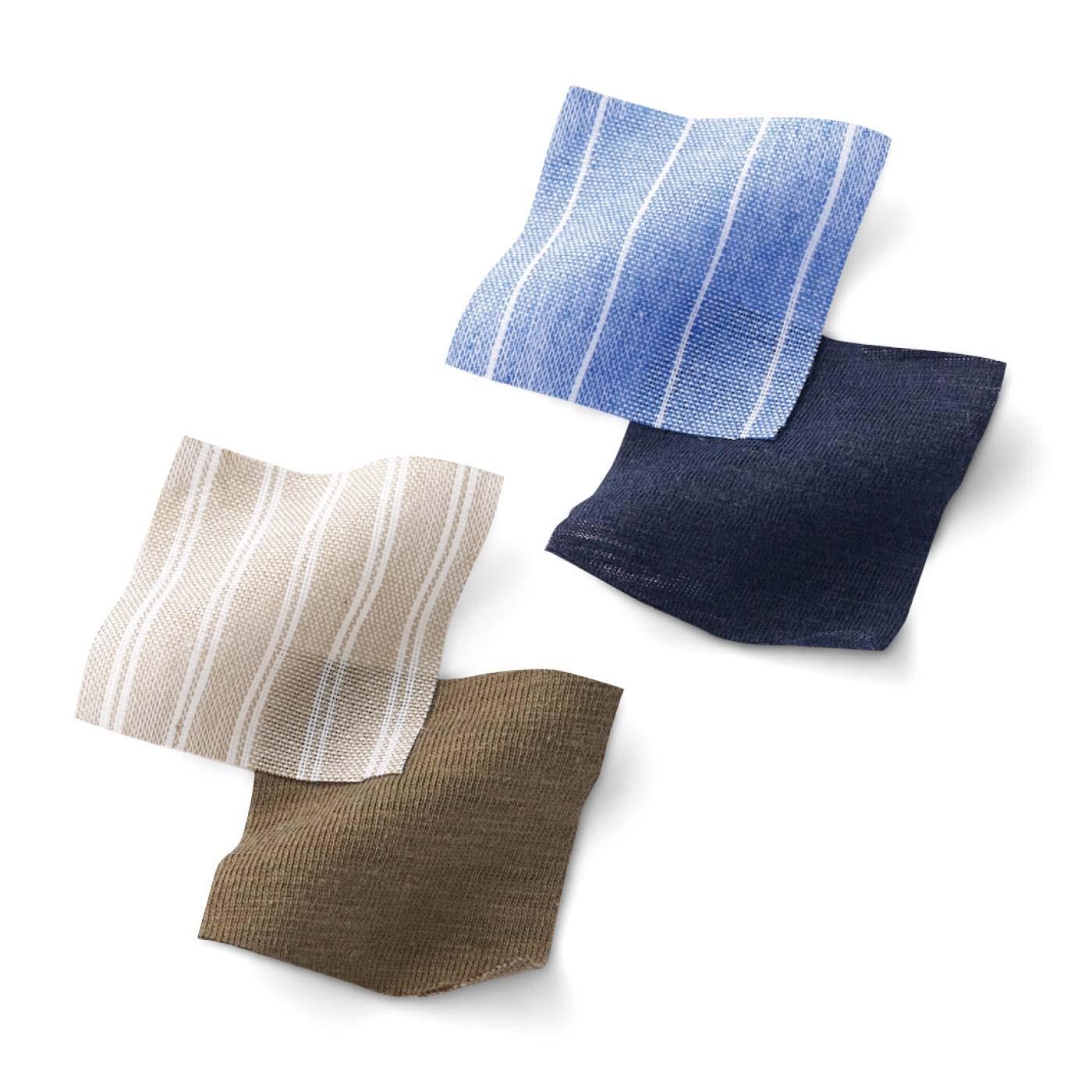 綿100%で快適。無地のスラブ天じくと布はくのストライプ生地の組み合わせ。