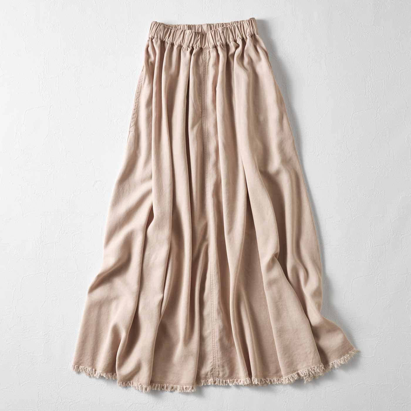 MEDE19F マキシ丈のボリュームスカート〈ピンクベージュ〉