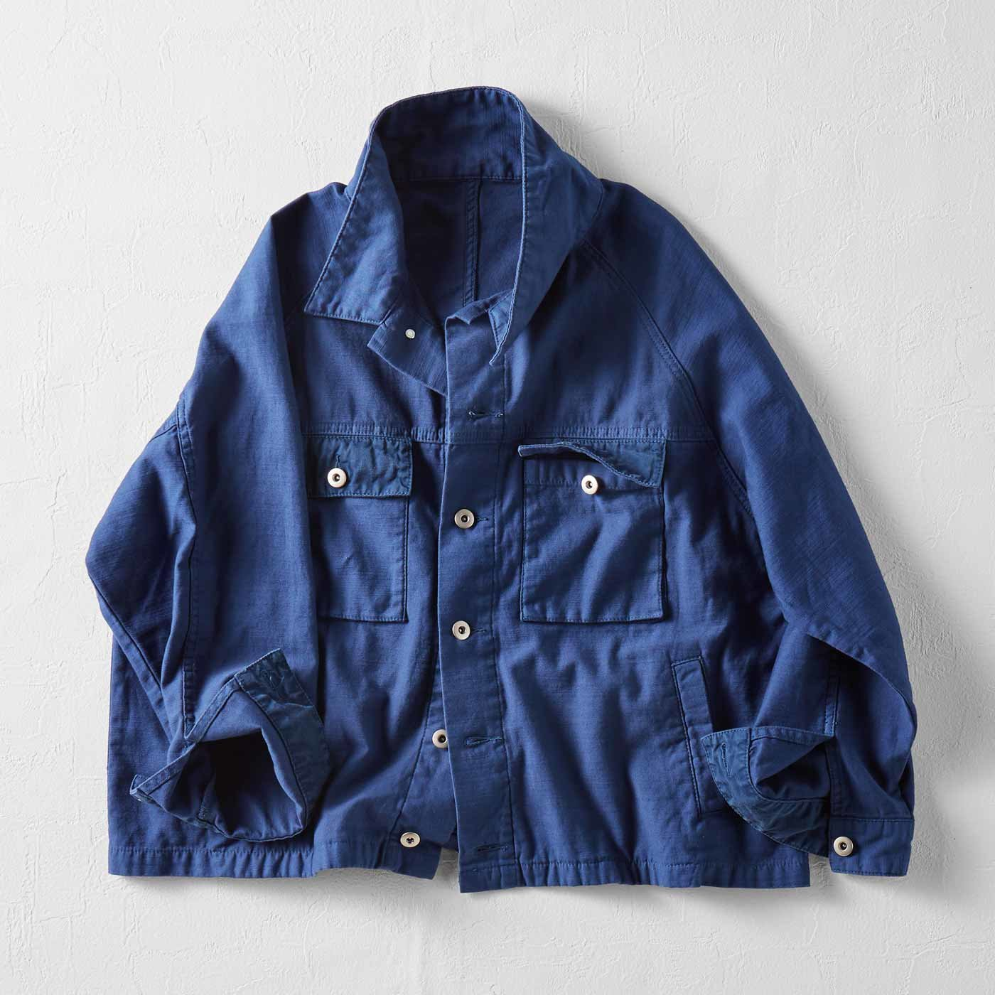 MEDE19F 製品染めルーズワークジャケット〈ネイビー〉