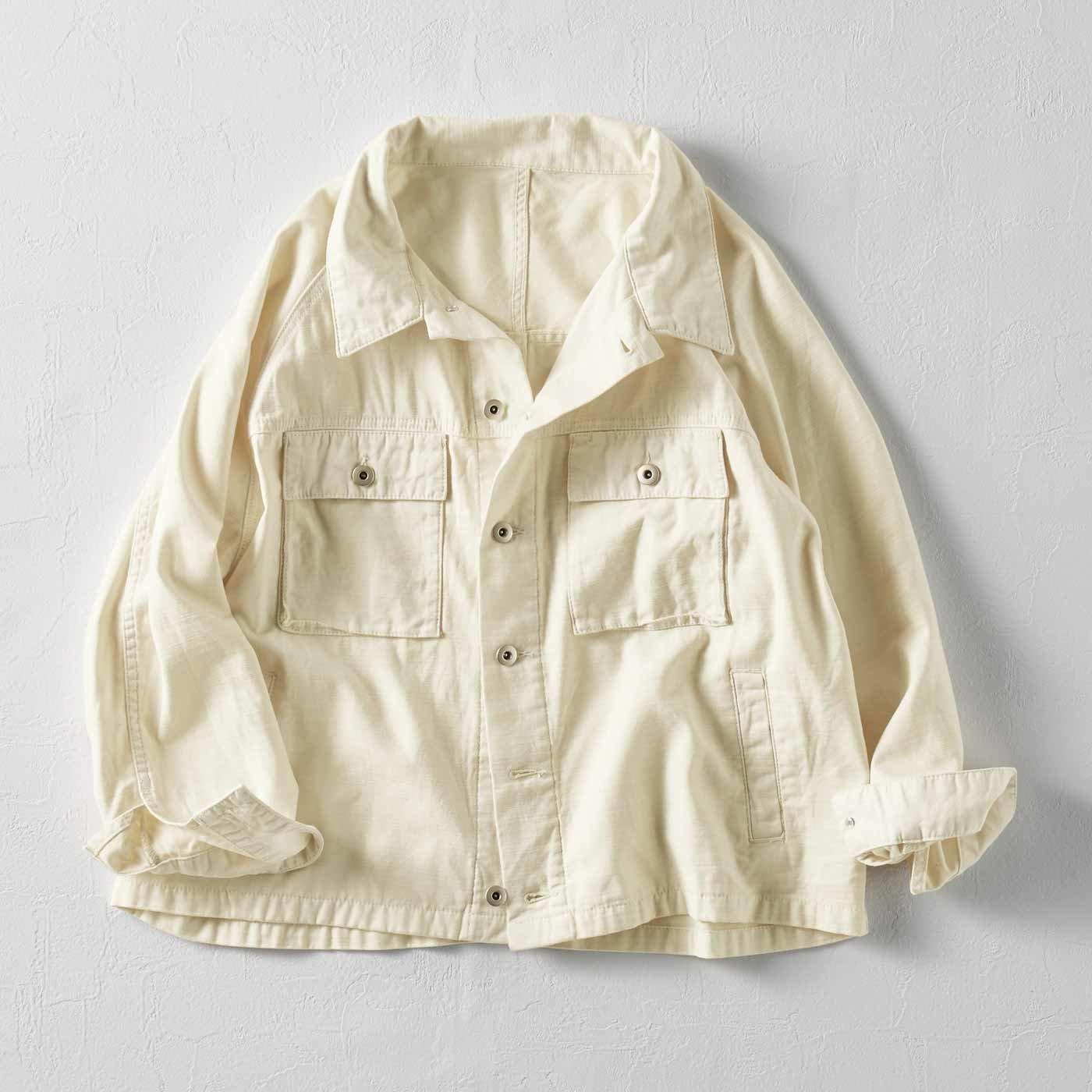 MEDE19F 製品染めルーズワークジャケット〈アイボリー〉