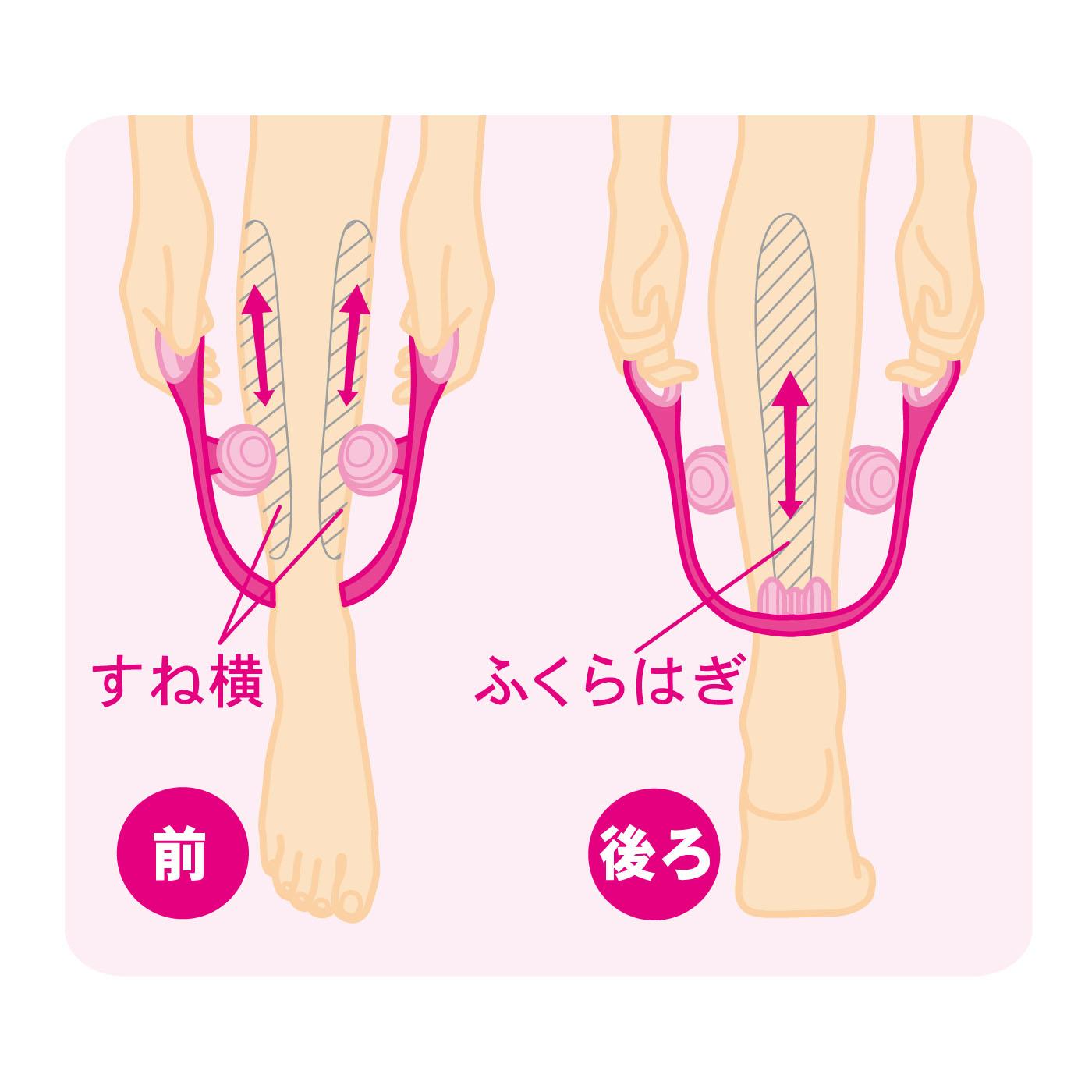 使い方は簡単!ローラー部分を脚に添わせて足首からふくらはぎにかけて上下にローリングしてください。