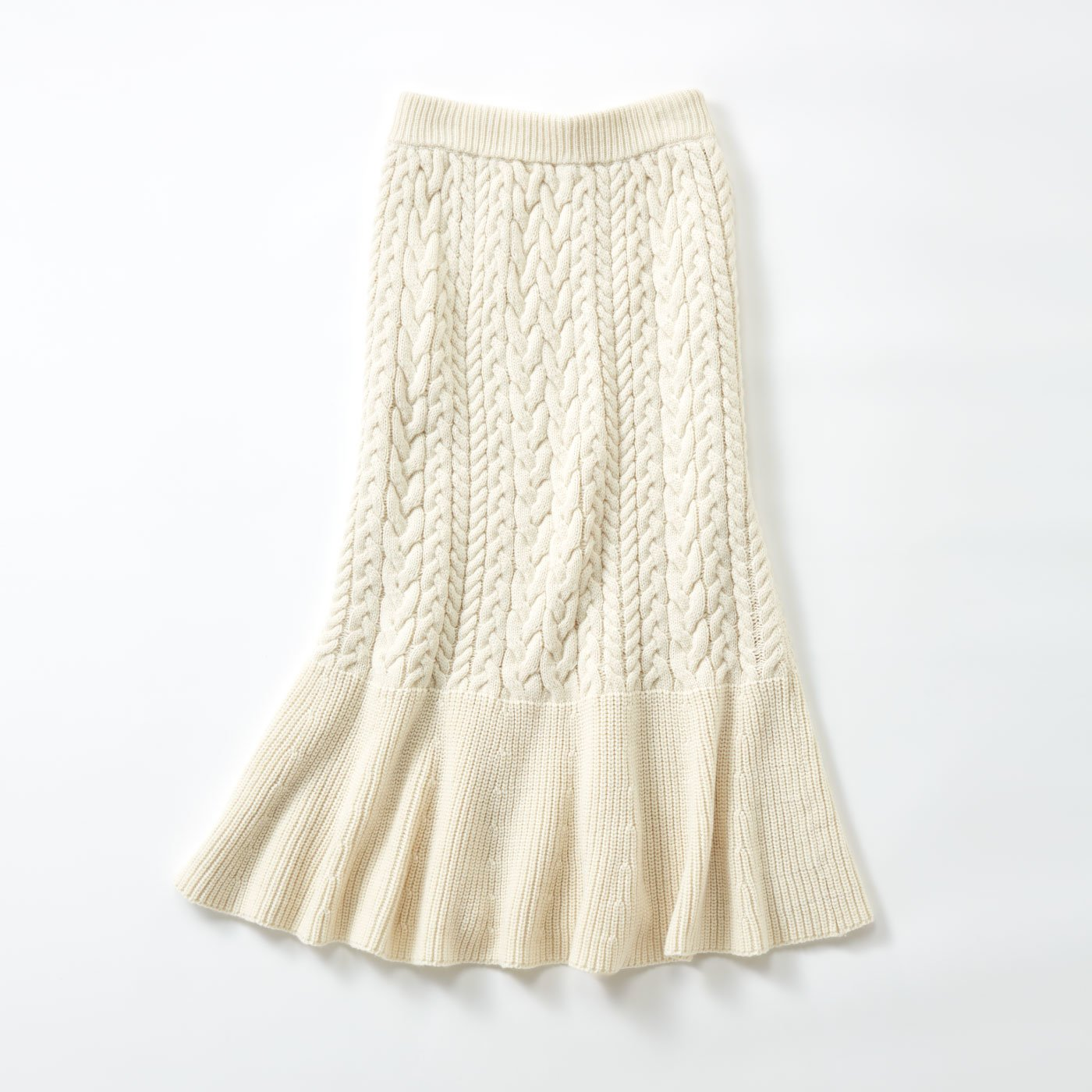 MEDE19F ケーブルニットスカート〈オフホワイト〉