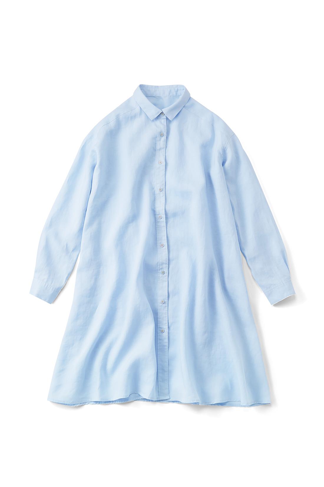 【ライトブルー】麻の素材感が涼しげ。ほんのり透け感がある素材です。はおるように着ても素敵。