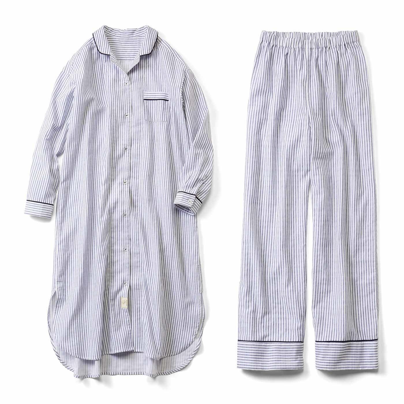 IEDIT[イディット] ダブルガーゼが心地いい ワンピースにもなるお寝坊パジャマ〈ホワイト〉