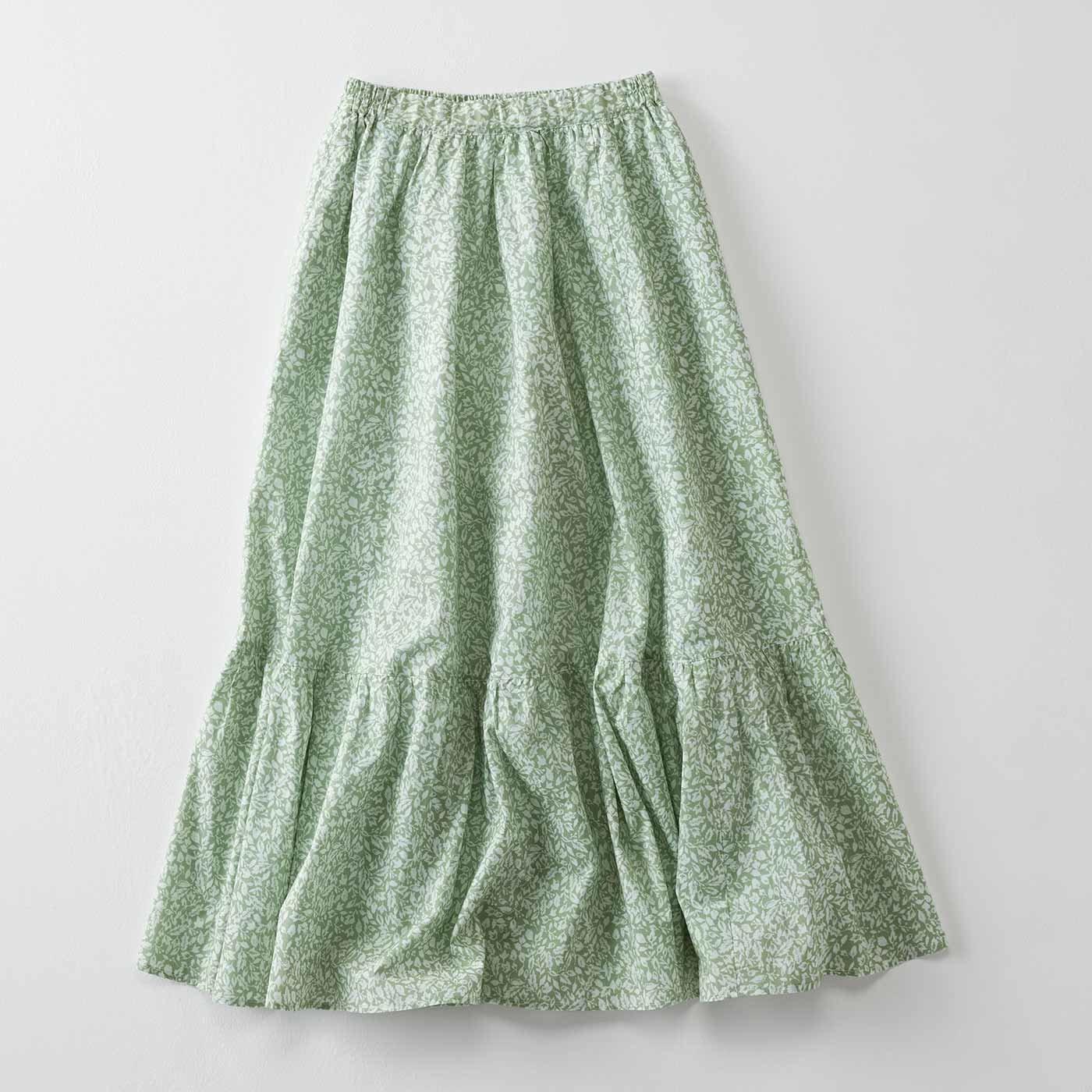 IEDIT[イディット] 小森美穂子さんコラボ ツートーン柄が大人なフレッシュカラーのフレアーロングスカート〈グリーン〉