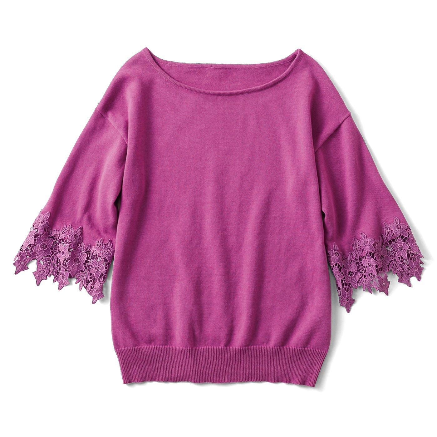 リブ イン コンフォート 着るだけパッと華やぐ 袖レース綿ニットトップス〈ピンク〉