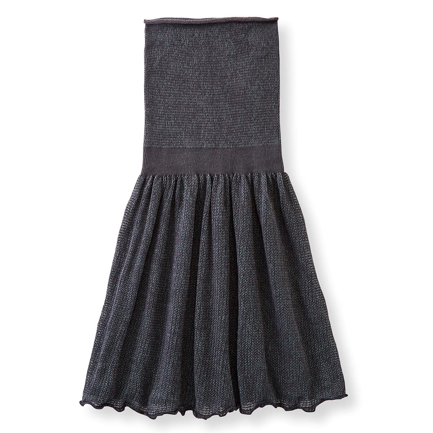 綿混素材で仕立てた ゆる編みニットの毛糸の腹巻き付きスカート