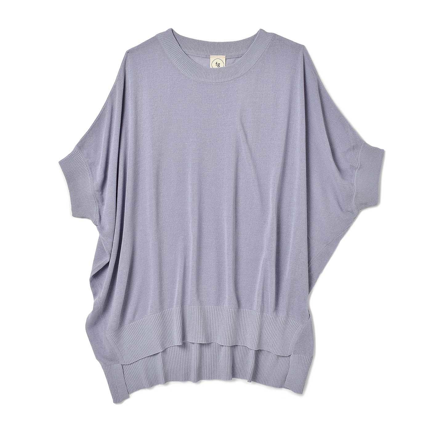 フラウグラット 大人のTシャツ代わりに毎日着たい 透け感が魅力の 麻混ニットトップス〈ラベンダー〉
