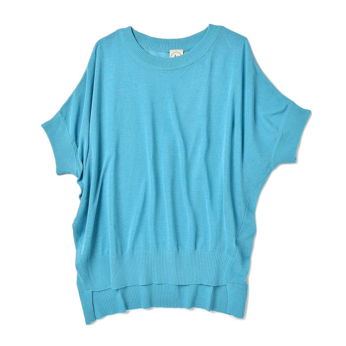 フラウグラット 大人のTシャツ代わりに毎日着たい 透け感が魅力の 麻混ニットトップス〈ライトブルー〉