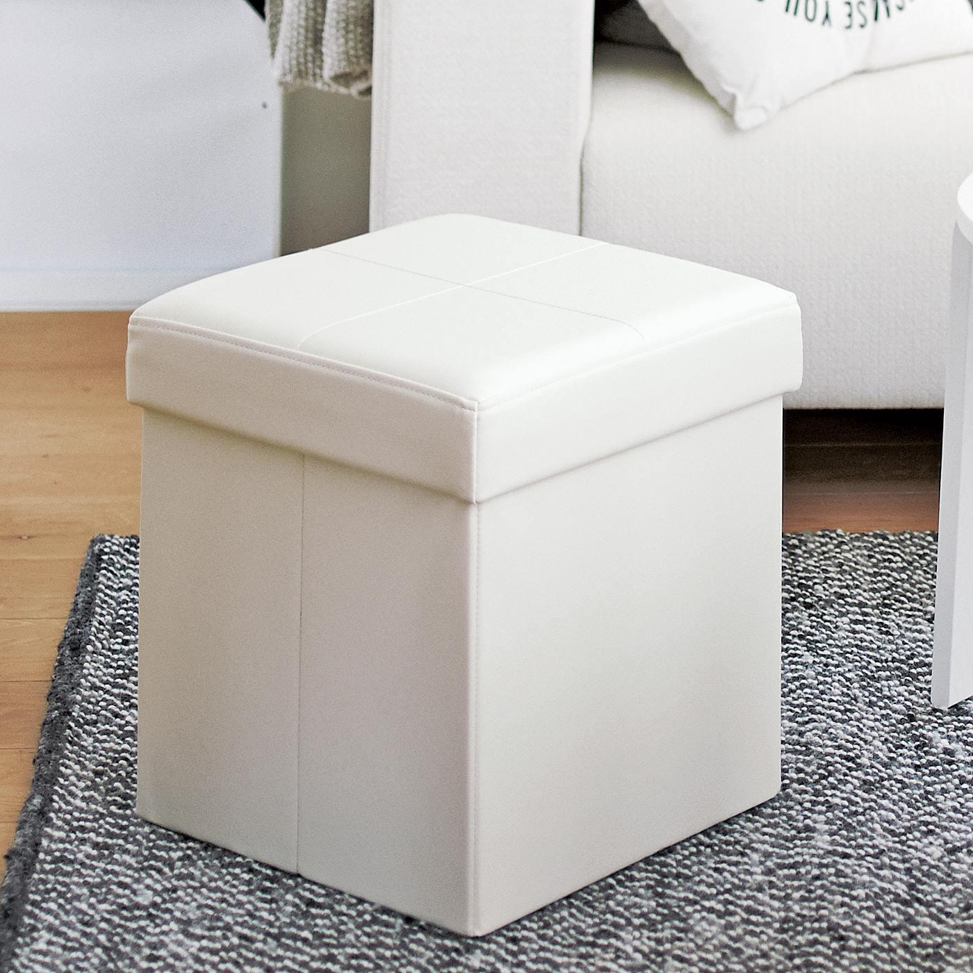 フェリシモ オットマンのような折りたたみスツールボックス〈ホワイト〉