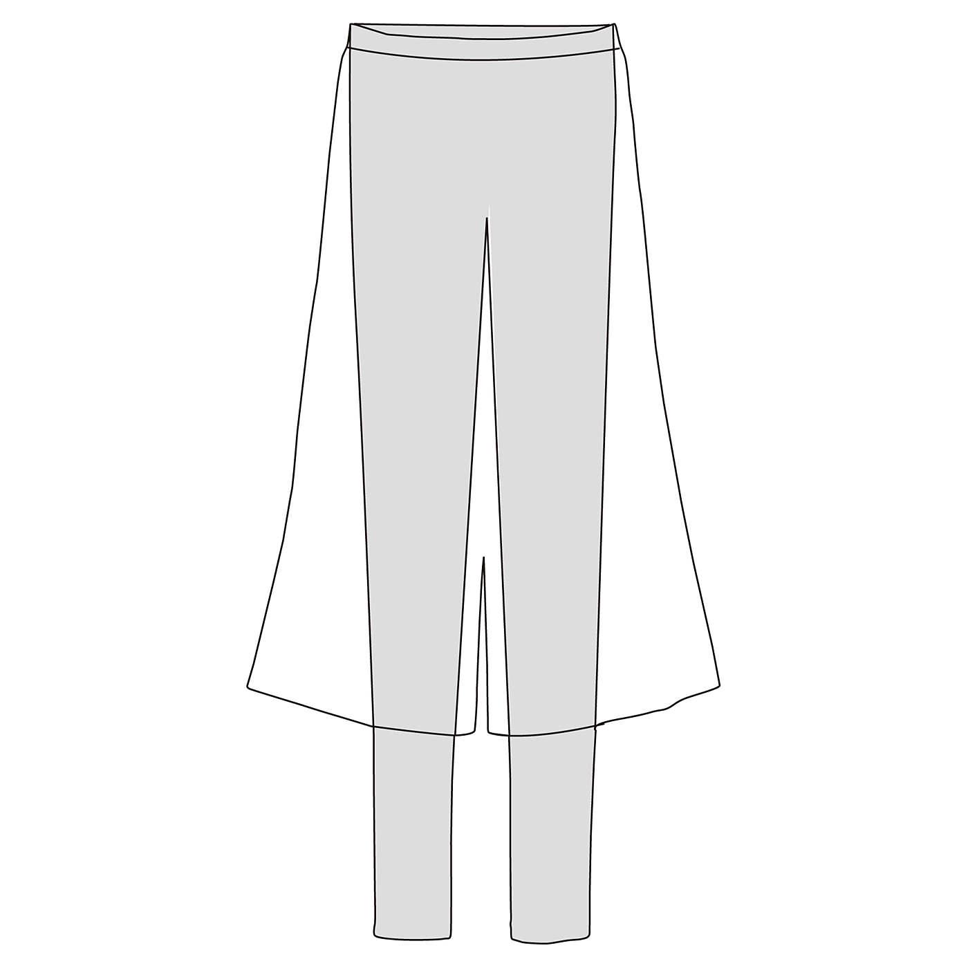 【ドッキングでらくちん】ロングガウチョパンツにあったか黒レギンスを縫い付けた一体形。