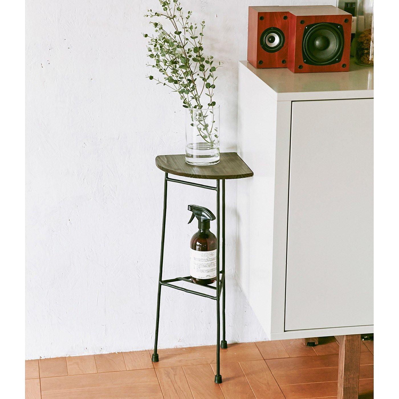 RoomClip商品情報 - 角にぴったり ちょい置きコーナーテーブル〈ブラック〉の会 フェリシモ FELISSIMO【送料無料】