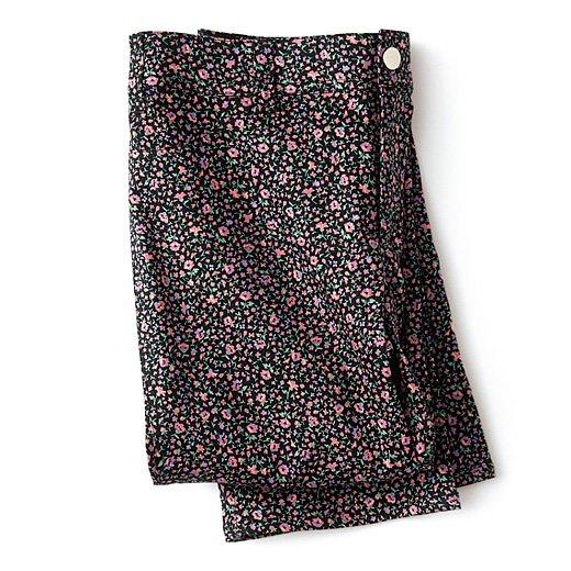 秘密の腰ゴムで気分が上がる 小花柄ストレートパンツ〈ピンク〉