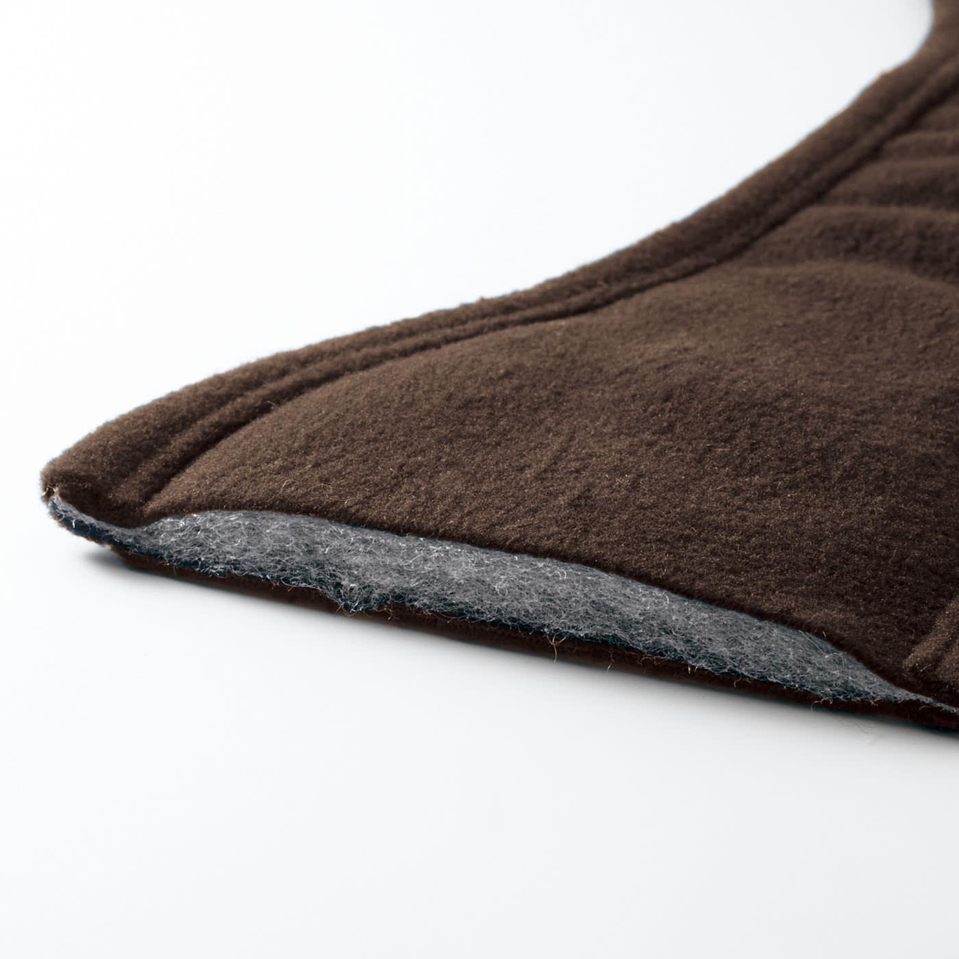 肌当たりのよいフリース素材の耳当てはわた入りで暖か。