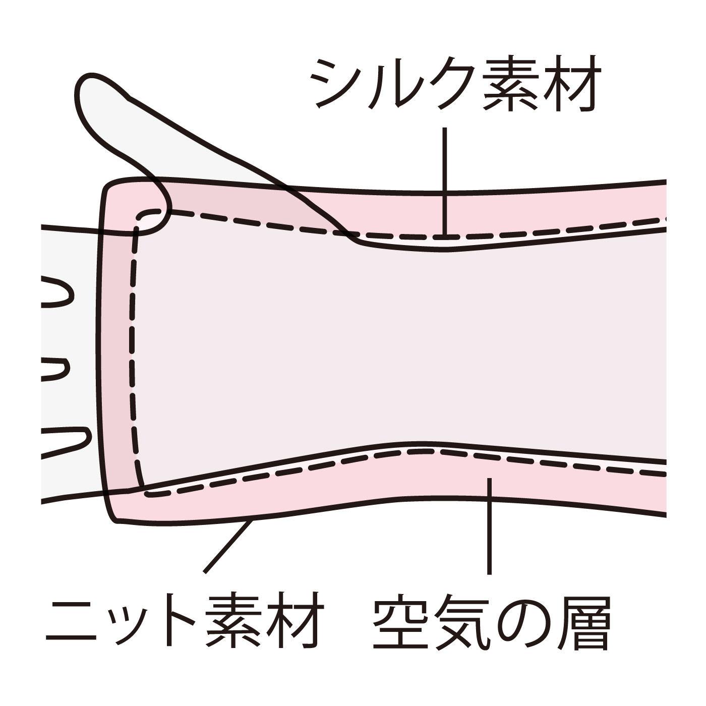 外側のふんわりニット素材と内側のフィットするシルク素材の間に空気の層ができて、あったか。