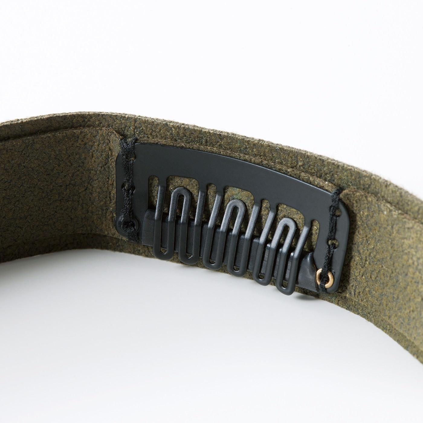 バンドの裏側に付いたズレを防ぐ髪留めクリップ。