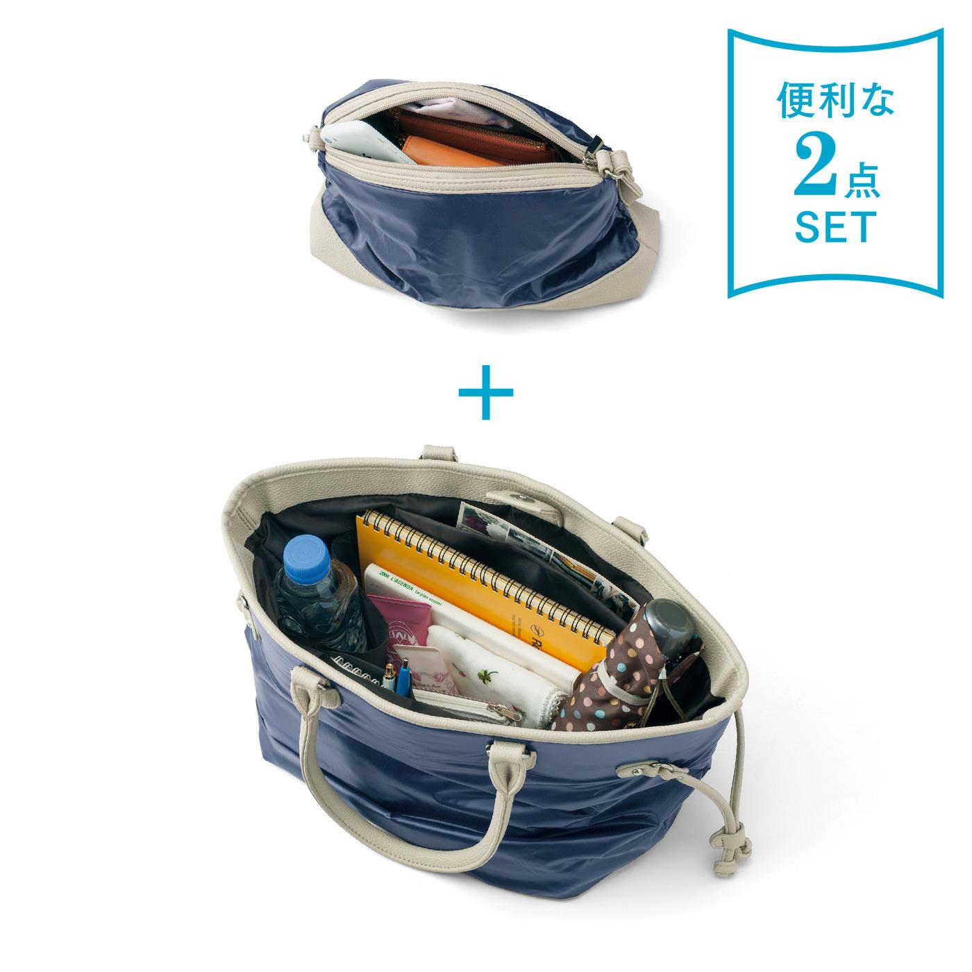お昼休みや移動の時は、サッとミニバッグだけで。トートバッグは内ポケットも充実!