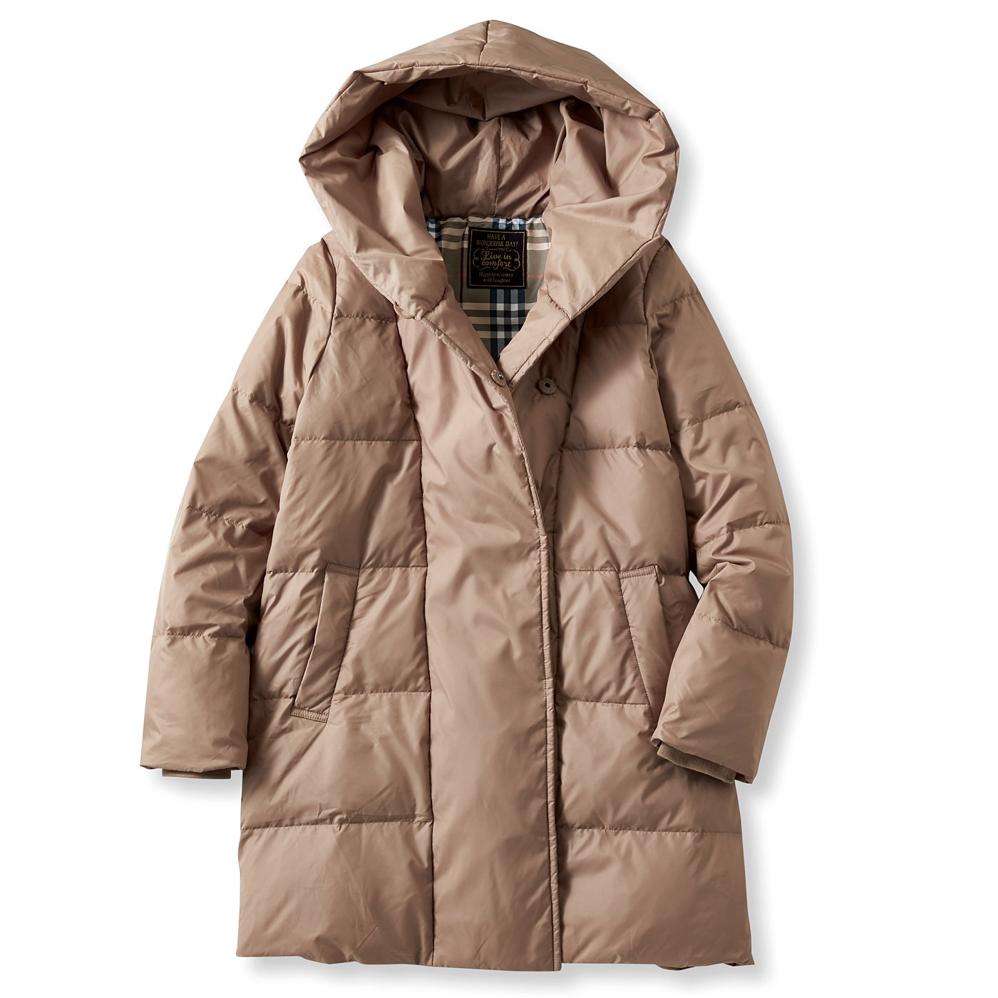 リブ イン コンフォート はまじとコラボ 薄くて軽い! 暖かな空気をまとう フードダウンコート〈ベージュ〉