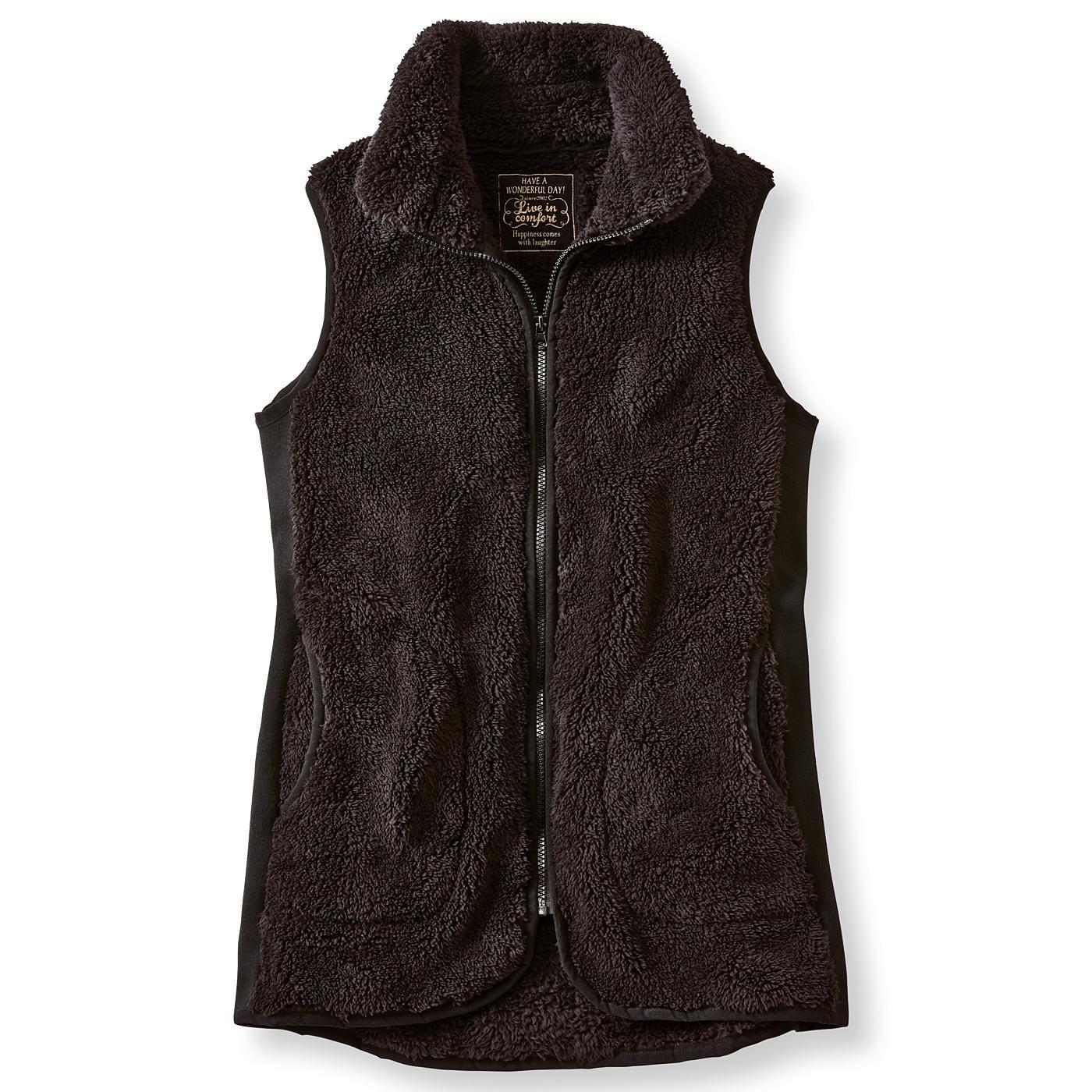 リブ イン コンフォート はまじとコラボ 腰まですっぽり暖かなサイドリブ遣いロングボアベスト〈ブラック〉