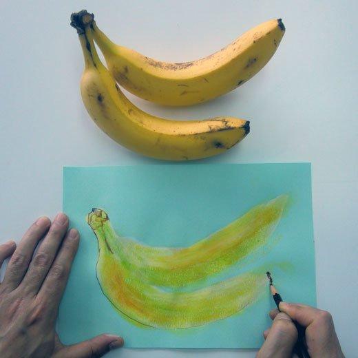 脳がめざめるお絵かきプログラム オイルパステル編用 画材セット8「バナナを描く」